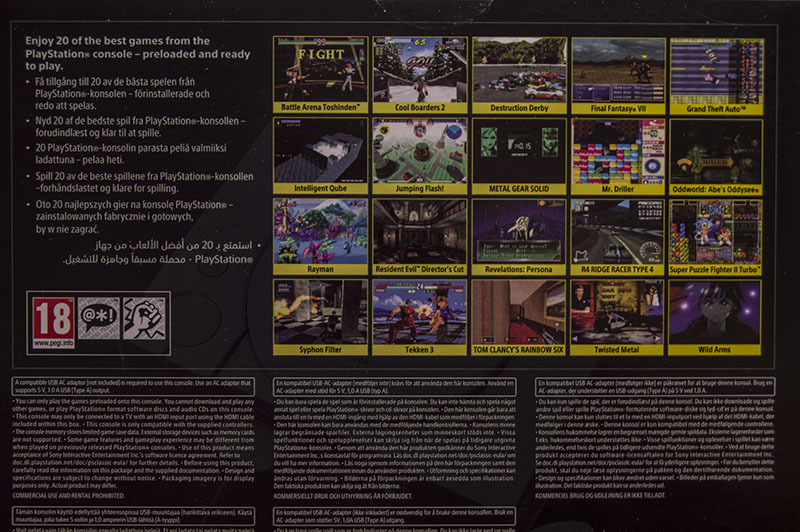 Sony PlayStation Classic back of the box with screenshots of twenty PS1 games