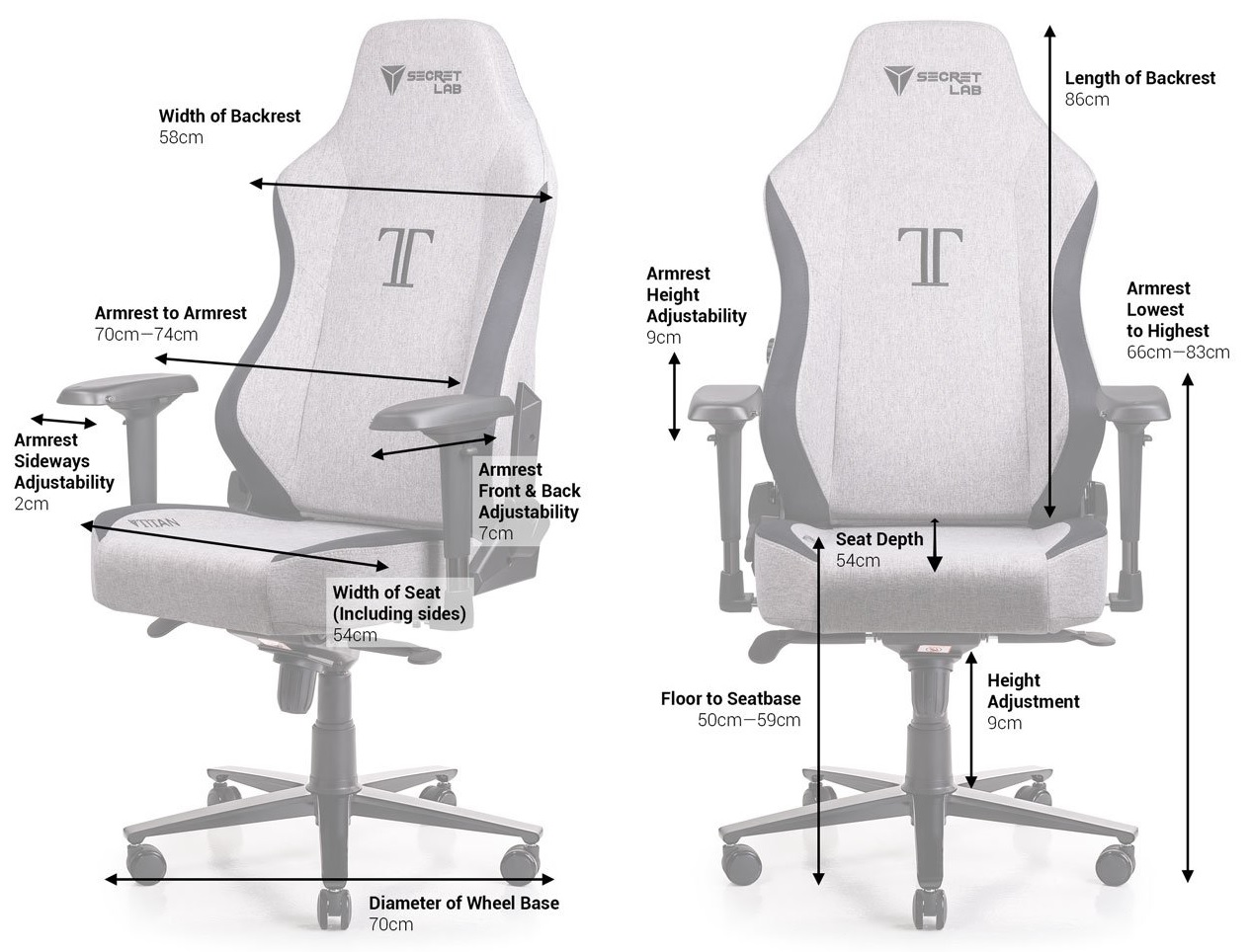 Secretlab TITAN SoftWeave chair dimensions