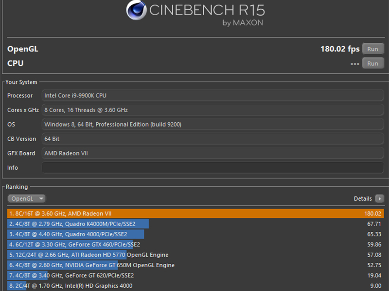 AMD Radeon VII GPU benchmark - Cinebench R15