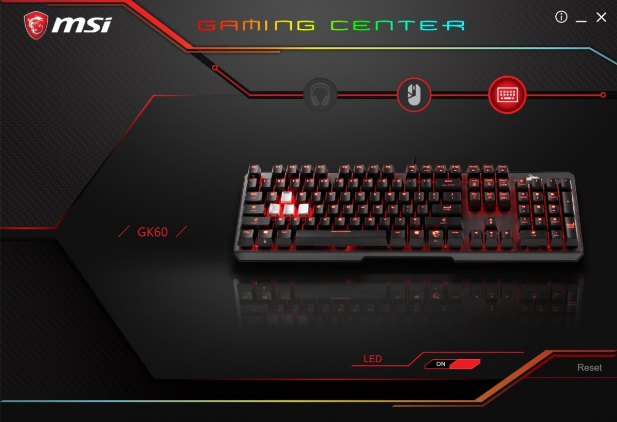 MSI Gaming Center Software GK60 Tastatur