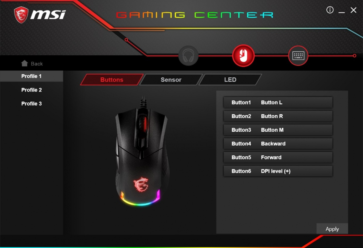 MSI Gaming Center Software Konfiguration Maus