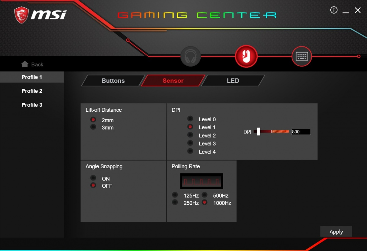 MSI Gaming Center software
