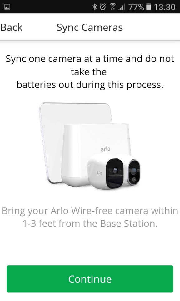 Arlo pro synchronizing cameras with the base station